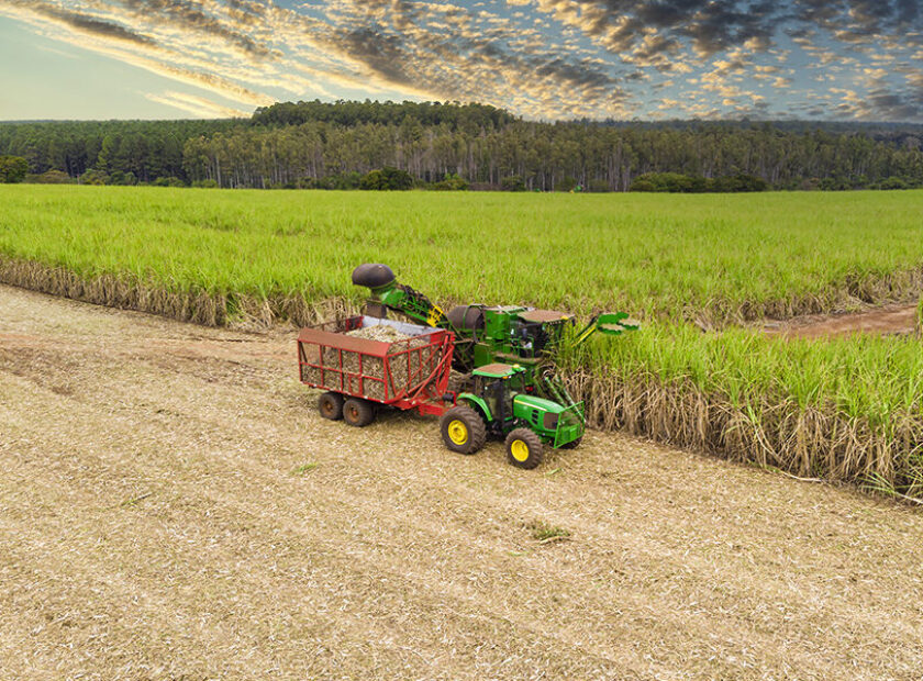 Aerial sugarcane field in Brazil. Tractor working, agribusiness