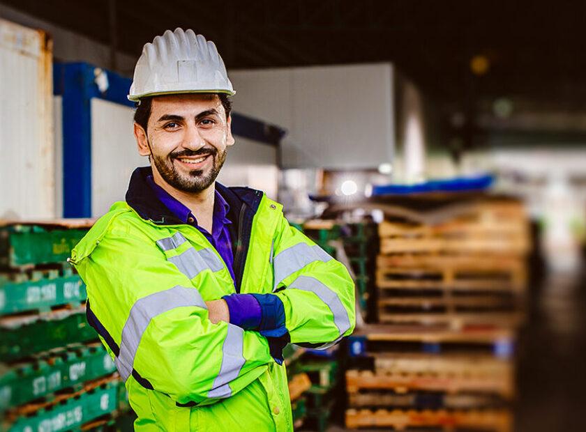 Smart Hispanic latin engineer worker working in logistic port ca